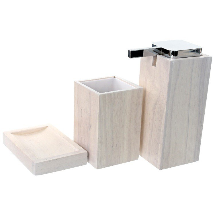 GEDY PA280-02 PAPIRO WOODEN 3 PIECE WHITE BATHROOM ACCESSORY SET