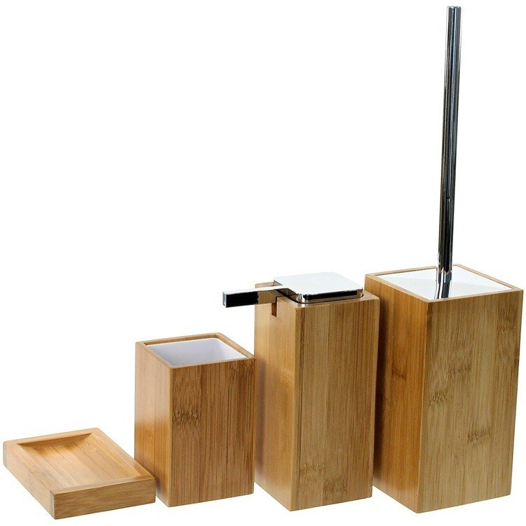 GEDY PO180-35 POTUS WOODEN 4 PIECE BAMBOO BATHROOM ACCESSORY SET