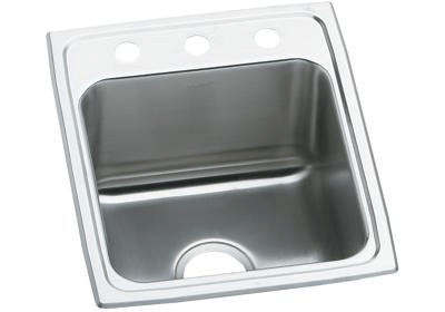 ELKAY LRAD1522451 STAINLESS STEEL 15 L X 22 W X 4-1/2 D TOP MOUNT KITCHEN SINK, 1 FAUCET HOLE