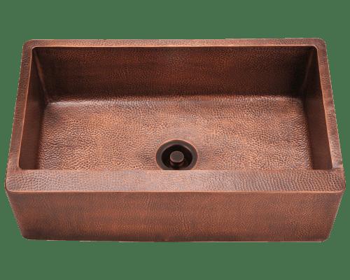 Polaris P319 Single Bowl Copper Apron Sink 33-1/8 Inch Hammered Copper