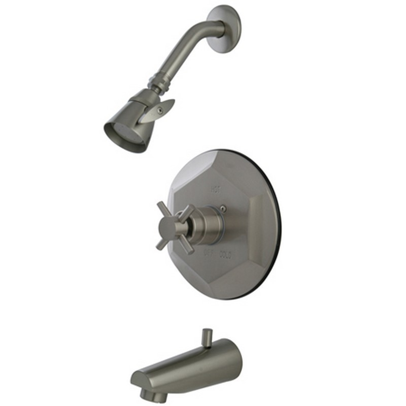 KINGSTON BRASS KB4638DX CONCORD TUB AND SHOWER FAUCET IN SATIN NICKEL