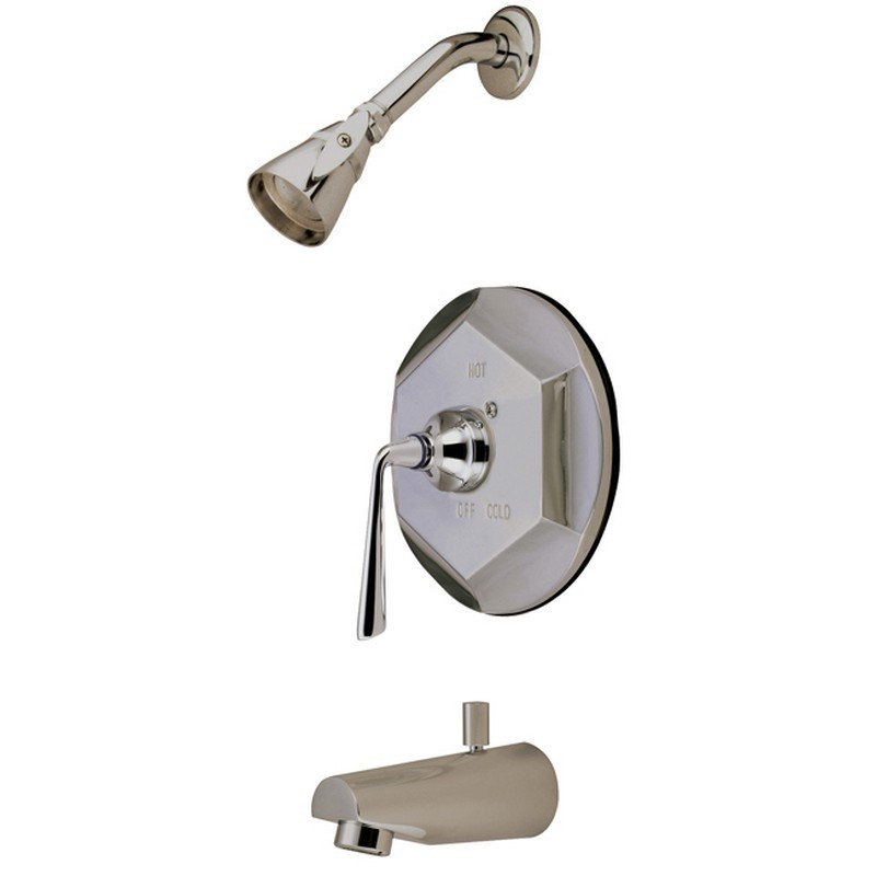 KINGSTON BRASS KB4638ZL SILVER SAGE TUB AND SHOWER FAUCET IN SATIN NICKEL