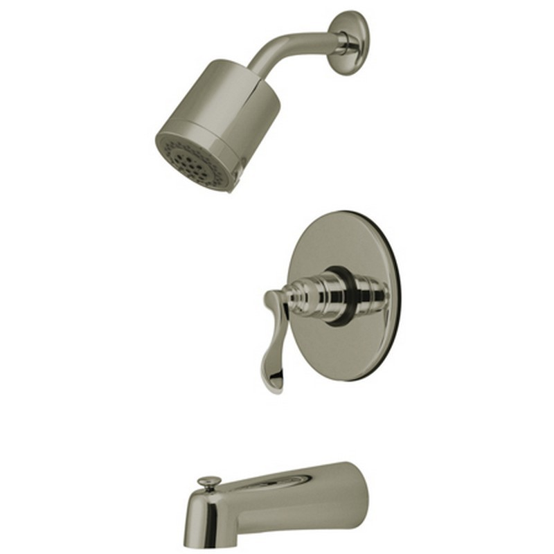 KINGSTON BRASS KB6698NFL NUWAVE FRENCH TUB AND SHOWER FAUCET IN SATIN NICKEL
