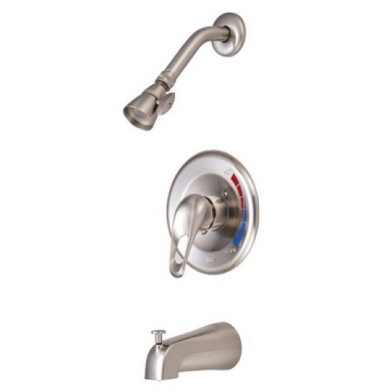 KINGSTON BRASS KB698 CHATHAM SINGLE LOOP HANDLE TUB AND SHOWER FAUCET IN SATIN NICKEL