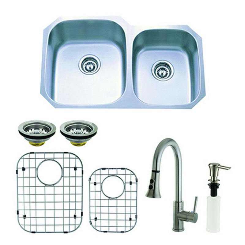 KINGSTON BRASS KZGKUD3221F LOFT 32 INCH UNDERMOUNT DOUBLE BOWL KITCHEN SINK AND FAUCET COMBO WITH STRAINER, GRID AND SOAP DISPENSER IN BRUSHED NICKEL