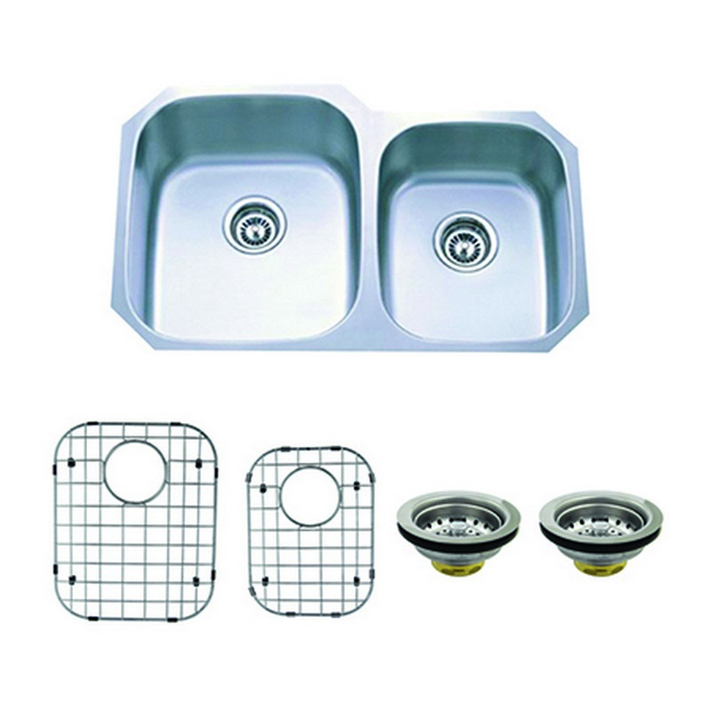 KINGSTON BRASS KZGKUD3221P LOFT 32 INCH UNDERMOUNT DOUBLE BOWL KITCHEN SINK COMBO WITH STRAINER AND GRID IN BRUSHED NICKEL