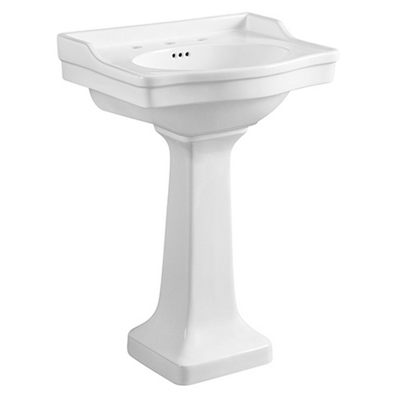 KINGSTON BRASS VPB3248 IMPERIAL 24.19 INCH SMALL PORCELAIN PEDESTAL SINK IN WHITE