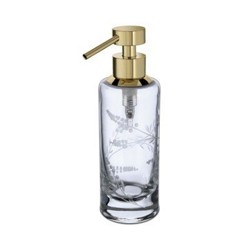 WINDISCH 90182 CYLINDER CARVED ROUND DECORATED CRYSTAL GLASS SOAP DISPENSER