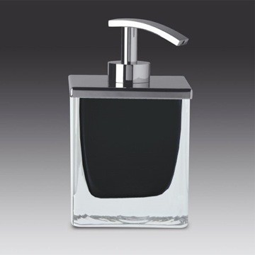 WINDISCH 90433 FASHION CRYSTAL SQUARE CRYSTAL GLASS SOAP DISPENSER WITH CHROME PUMP