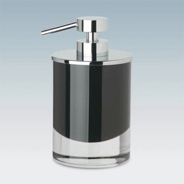 WINDISCH 90435 FASHION CRYSTAL SQUARE CRYSTAL GLASS SOAP DISPENSER WITH CHROME PUMP