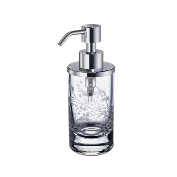 WINDISCH 90459 CYLINDER CARVED ROUND DECORATED CRYSTAL GLASS SOAP DISPENSER