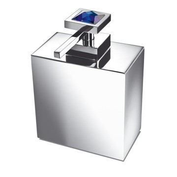 WINDISCH 90501A MOON LIGHT SQUARE BRASS SOAP DISPENSER WITH BLUE STRASS SWAROVSKI CRYSTAL ON TOP