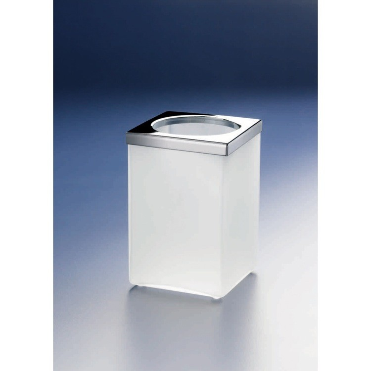 WINDISCH 91142M COMPLEMENTS FREE STANDING FROSTED GLASS SQUARE TOOTHBRUSH HOLDER