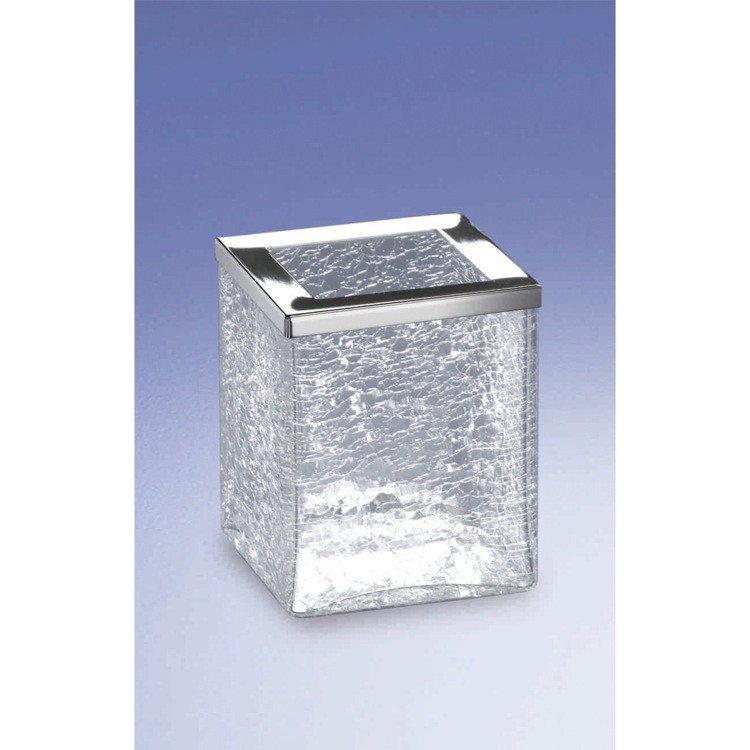 WINDISCH 91149 COMPLEMENTS FREE STANDING CRACKLED GLASS SQUARE TOOTHBRUSH HOLDER