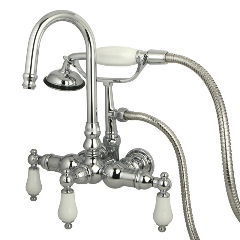 Stop Valve and Handle 32-5//8 Inch Length Vintage Brass Kingston Brass CCK285K3 Freestanding Tub Faucet with Supply Line