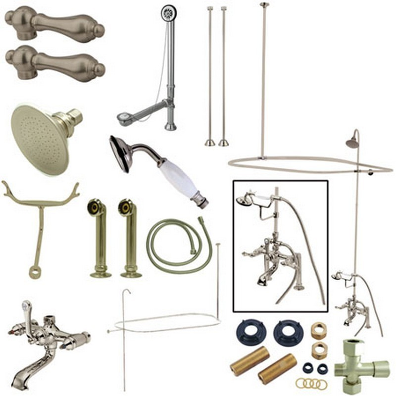 KINGSTON BRASS CCK1178DAL VINTAGE 7-INCH CENTER CLAWFOOT TUB FIXTURE WITH SHOWER RISER PACKAGE COMBO IN SATIN NICKEL