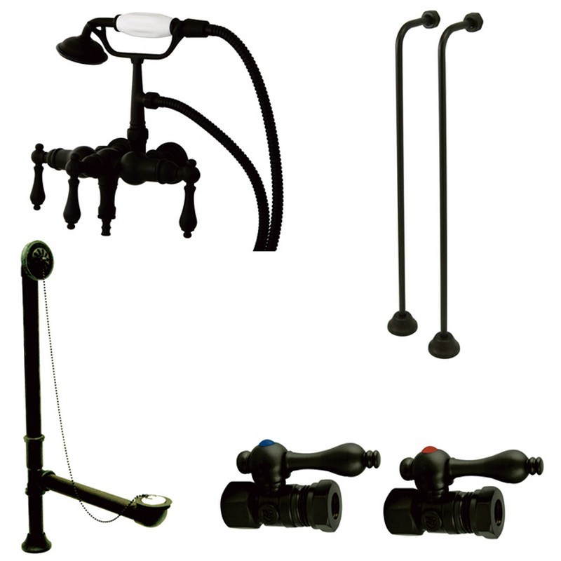 KINGSTON BRASS CCK19T5A VINTAGE DOWN SPOUT WALL MOUNT CLAW FOOT FAUCET PACKAGE IN OIL RUBBED BRONZE