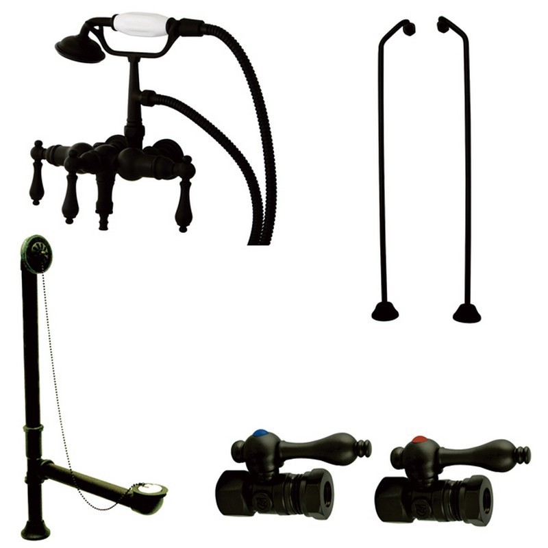 KINGSTON BRASS CCK19T5B VINTAGE DOWN SPOUT WALL MOUNT CLAW FOOT FAUCET PACKAGE IN OIL RUBBED BRONZE