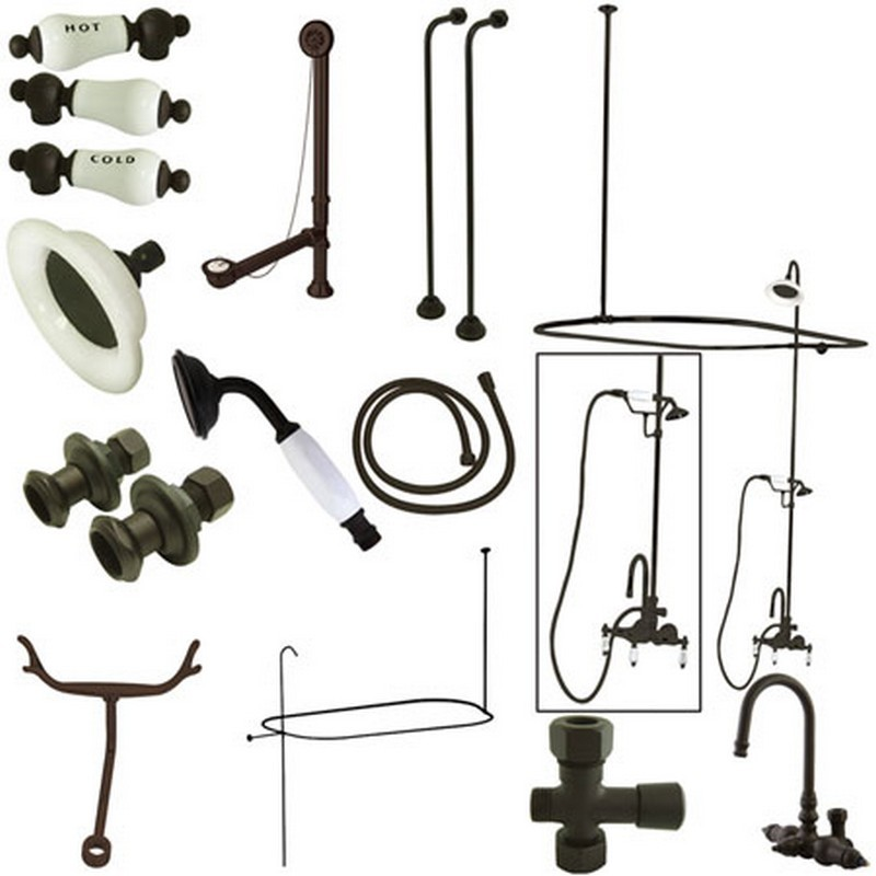 KINGSTON BRASS CCK2145HCPL VINTAGE HIGH RISE GOOSENECK CLAWFOOT TUB AND SHOWER PACKAGE WITH PORCELAIN LEVER HANDLES IN OIL RUBBED BRONZE