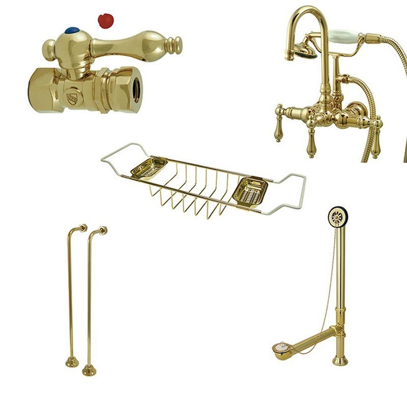 KINGSTON BRASS CCK7T2SS-TC VINTAGE GOOSE NECK TUB MOUNT CLAWFOOT TUB FILLER WITH SHOWER MIXER KIT IN POLISHED BRASS