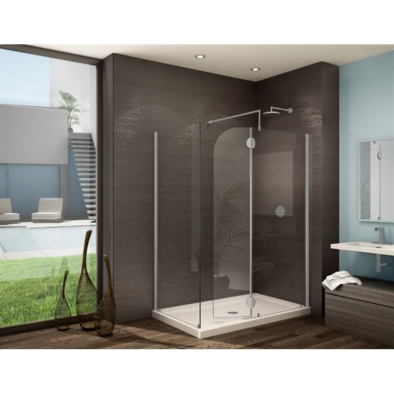 FLEURCO V4302-40-79 MONACO V 46 W X 79 H INCH WALK-IN SHOWER SHIELD 4302 WITH ROUND TOP, FIXED AND RETURN PANEL AND 3/8 INCH CLEAR GLASS