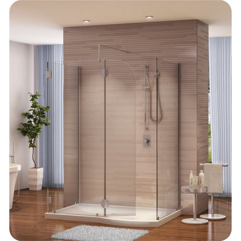 FLEURCO V56305-40-79 MONACO V 58 W X 79 H INCH WALK-IN SHOWER SHIELD 56305 WITH ROUND TOP, 3 PANELS AND 3/8 INCH CLEAR GLASS