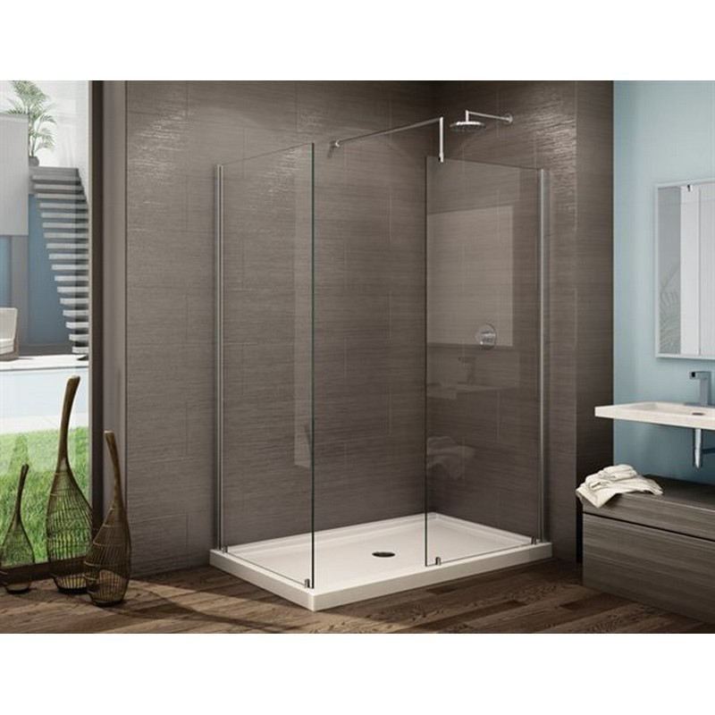 FLEURCO V56312-4079 PETRA V 57-1/2 W X 75 H INCH WALK-IN 2-SIDED SHOWER PANEL 56312 WITH FIXED PANEL, RETURN PANEL AND 3/8 INCH CLEAR GLASS