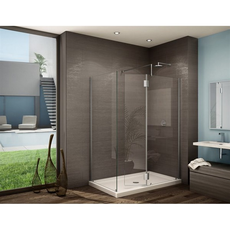 FLEURCO VW4302-40-79 MONACO V 46 W X 79 H INCH WALK-IN SHOWER SHIELD 4302 WITH SQUARE TOP, FIXED AND RETURN PANEL AND 3/8 INCH CLEAR GLASS