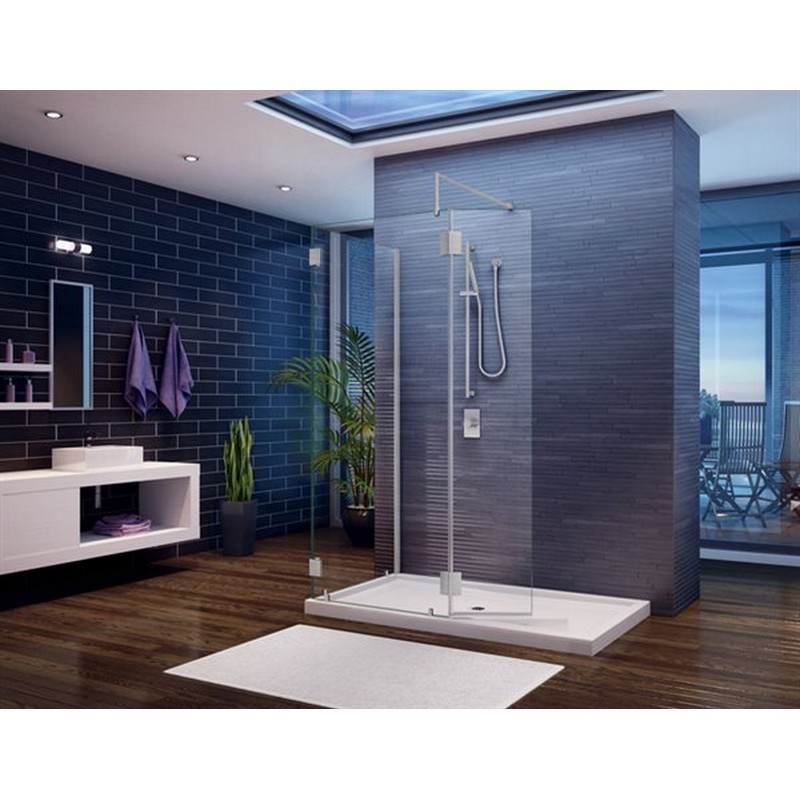 FLEURCO VW56304-40-79 MONACO V 58 W X 79 H INCH WALK-IN SHOWER SHIELD 56304 WITH SQUARE TOP, FIXED AND RETURN PANEL AND 3/8 INCH CLEAR GLASS