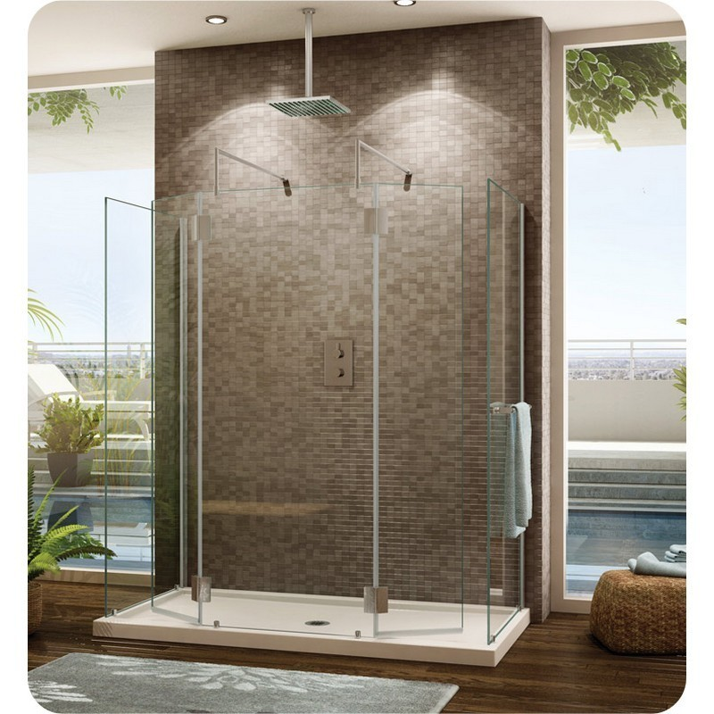 FLEURCO VW6306-40-79 WING V 32 W X 75 H INCH WALK-IN SHOWER SHIELD 6306 WITH SQUARE TOP, 4 PANELS AND 3/8 INCH CLEAR GLASS