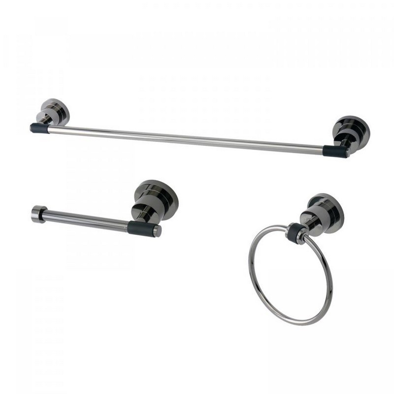 KINGSTON BRASS BAK821248BKDKL WATER ONYX 3-PIECE TOWEL BAR ACCESSORY SET IN BLACK STAINLESS STEEL