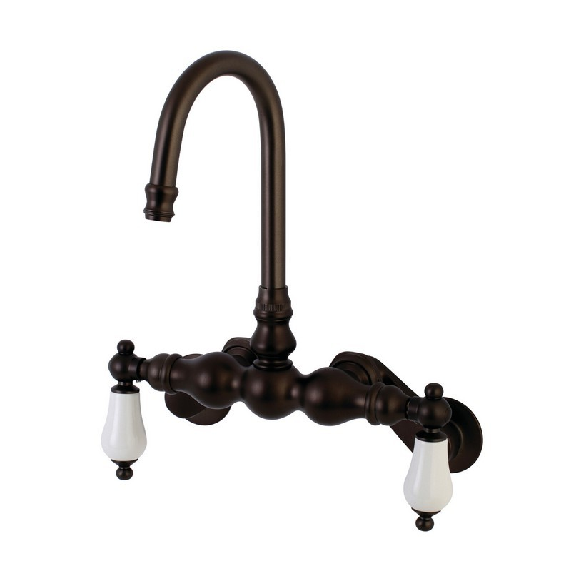 KINGSTON BRASS AE83T5 VINTAGE 3-3/8-INCH ADJUSTABLE WALL MOUNT TWO HANDLE TUB FAUCET IN OIL RUBBED BRONZE