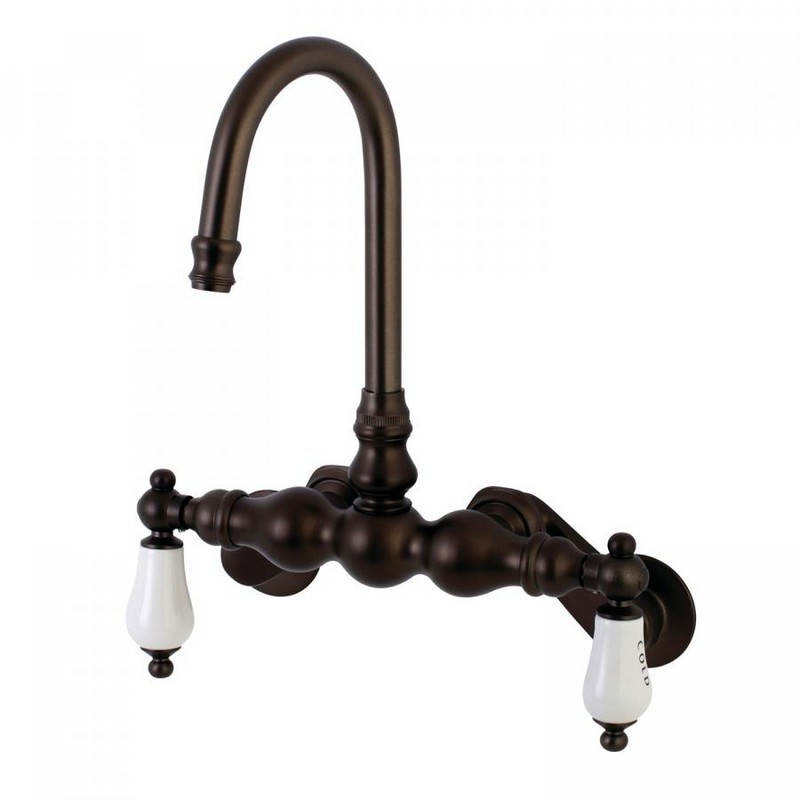KINGSTON BRASS AE85T5 VINTAGE 3-3/8-INCH ADJUSTABLE WALL MOUNT TWO HANDLE TUB FAUCET IN OIL RUBBED BRONZE