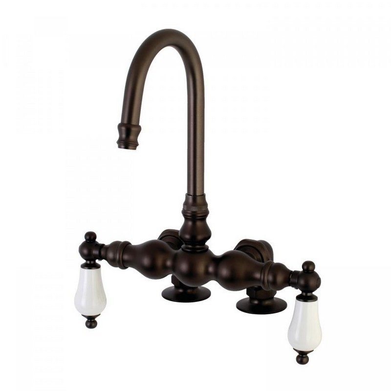 KINGSTON BRASS AE93T5 VINTAGE DECK MOUNT TWO HANDLE TUB FAUCET IN OIL RUBBED BRONZE