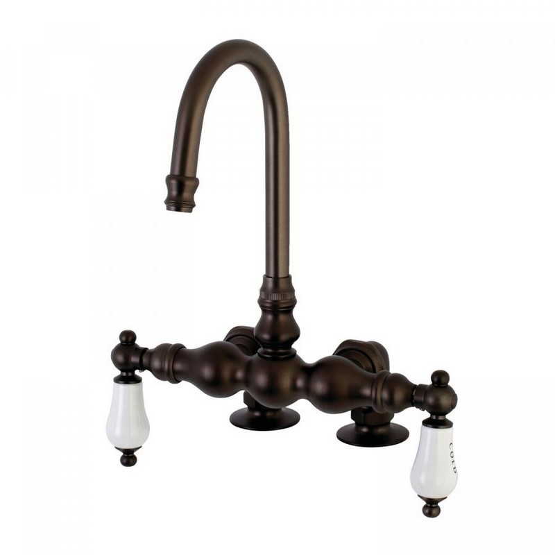 KINGSTON BRASS AE95T5 VINTAGE DECK MOUNT TWO HANDLE TUB FAUCET IN OIL RUBBED BRONZE