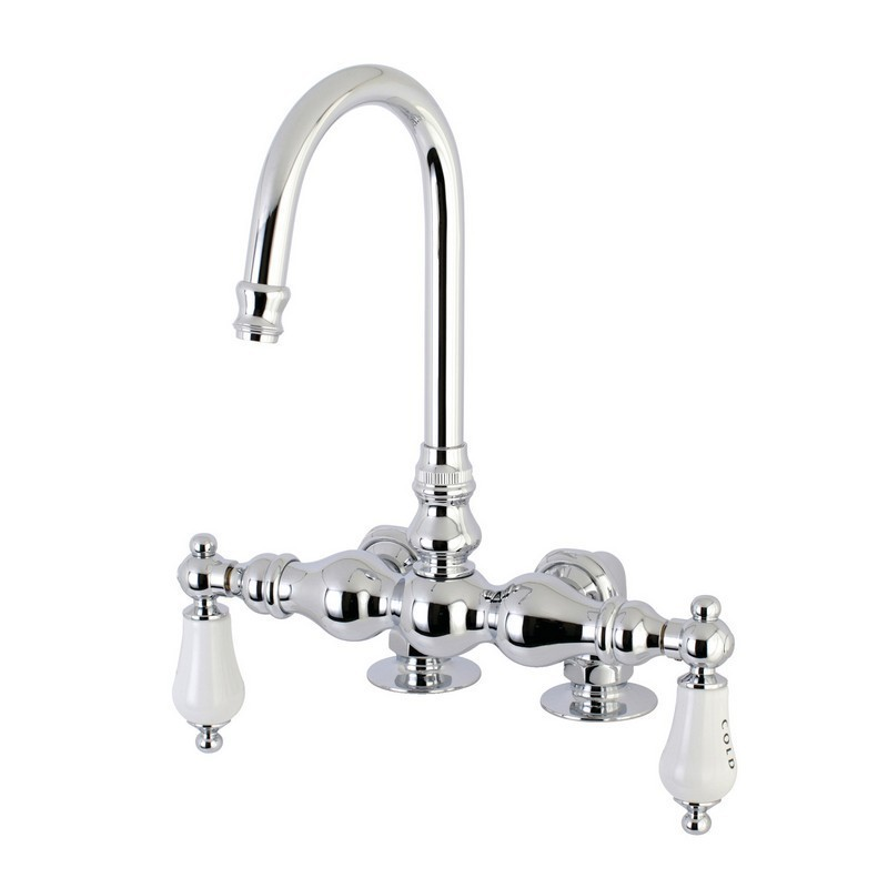 KINGSTON BRASS AE96T1 VINTAGE DECK MOUNT CLAWFOOT TUB FAUCET IN POLISHED CHROME