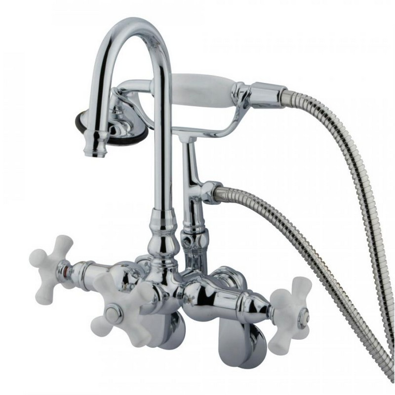 KINGSTON BRASS CC308T1 VINTAGE CLAWFOOT TUB FILLER WITH HAND SHOWER IN POLISHED CHROME