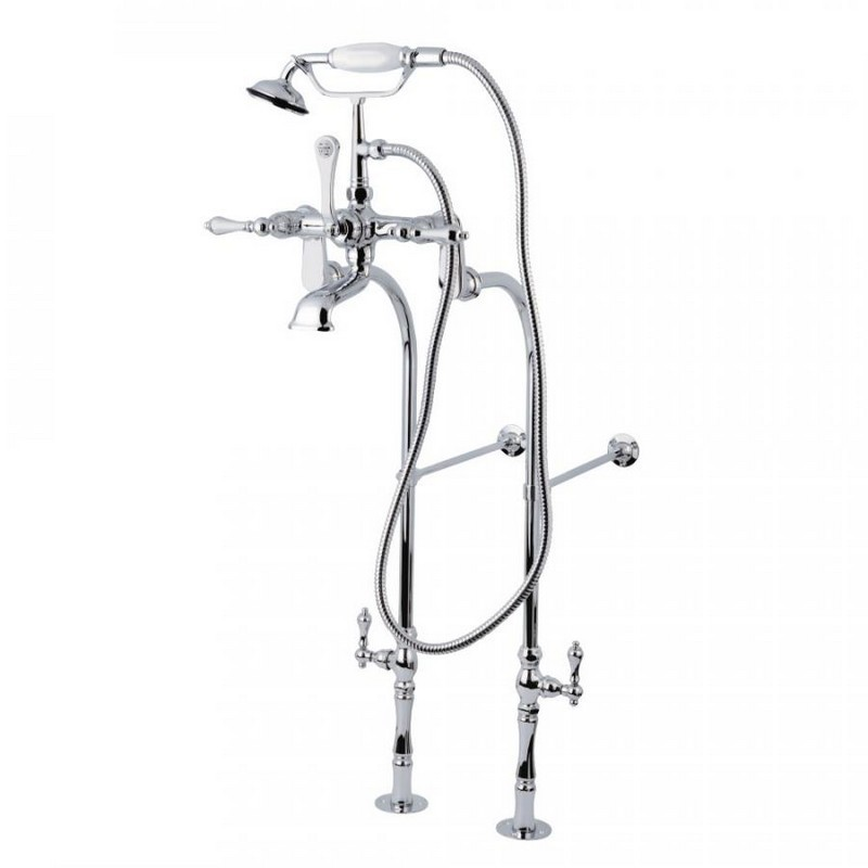 KINGSTON BRASS CCK104T1 VINTAGE TUB FILLER COMBO WITH LEVER HANDLE AND SUPPLY LINES IN POLISHED CHROME