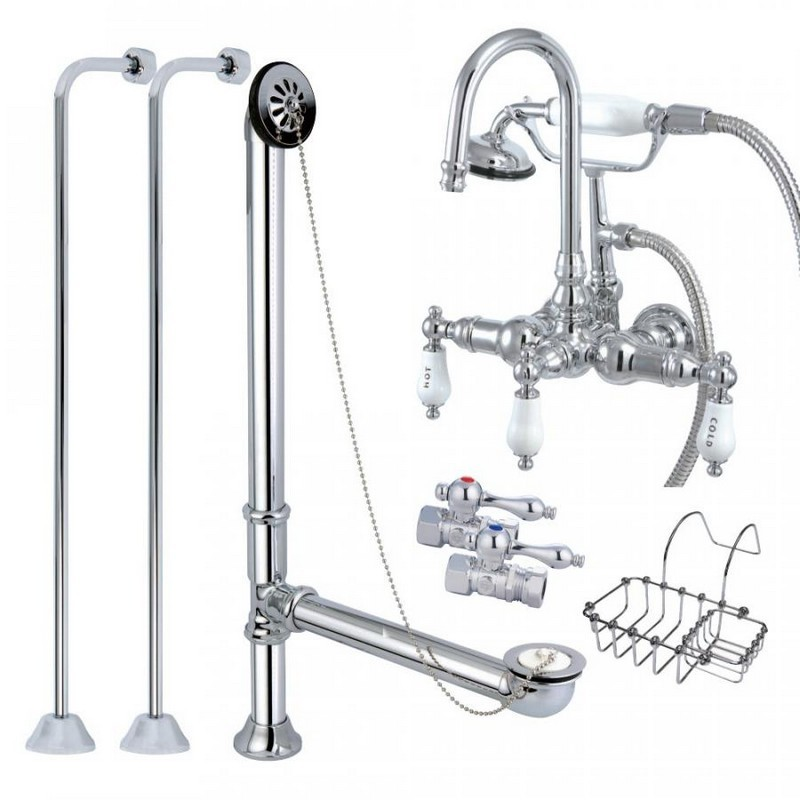KINGSTON BRASS CCK10T1SS-SB VINTAGE WALL MOUNT GOOSENECK CLAWFOOT TUB FILLER WITH SHOWER MIXER KIT IN POLISHED CHROME