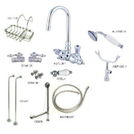 KINGSTON BRASS CCK12T1SS-SB VINTAGE WALL MOUNT GOOSENECK CLAWFOOT TUB FILLER WITH SHOWER MIXER KIT IN POLISHED CHROME