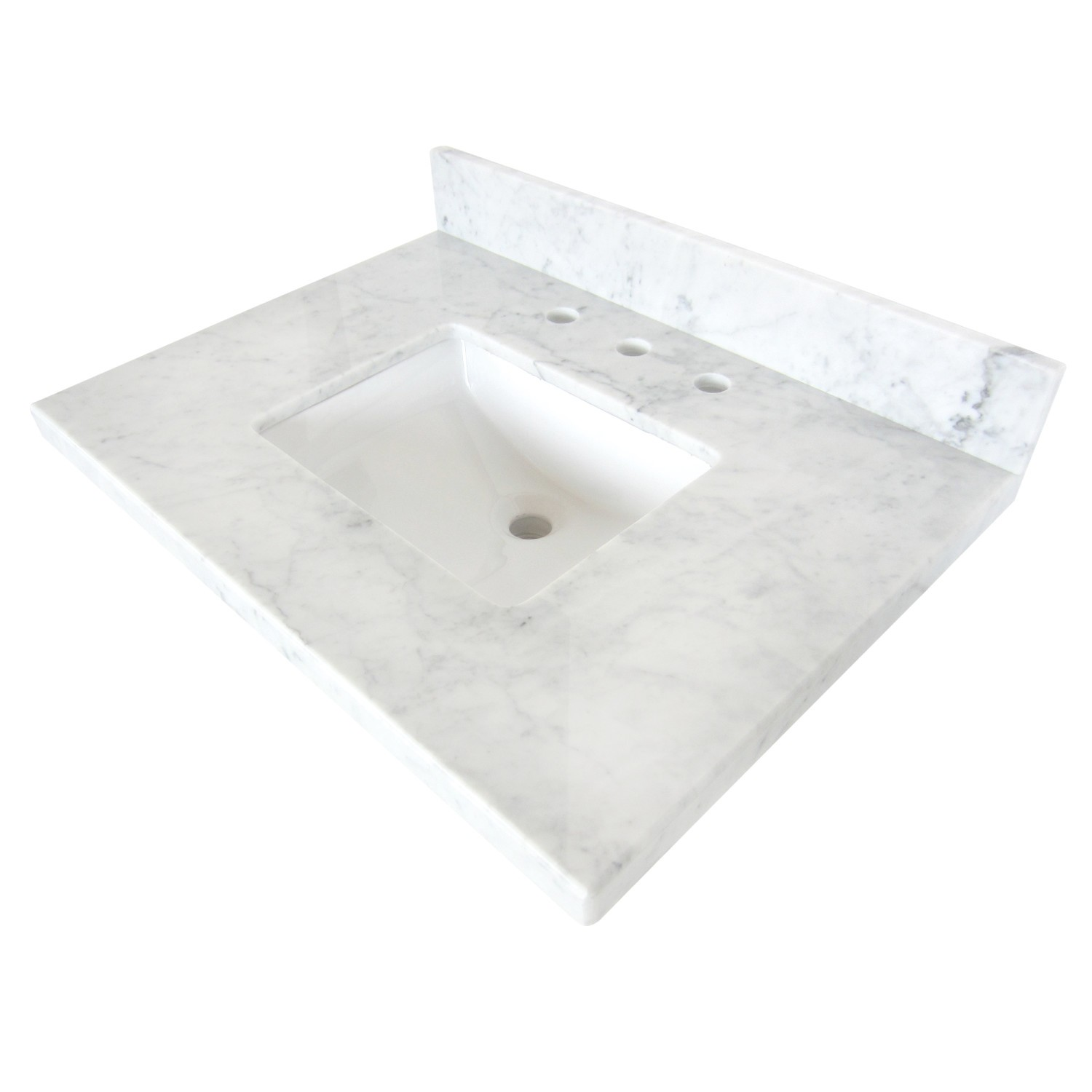 KINGSTON BRASS KVPB3022M38SQ TEMPLETON CARRARA MARBLE VANITY TOP WITH SQUARE UNDERMOUNT SINK IN WHITE