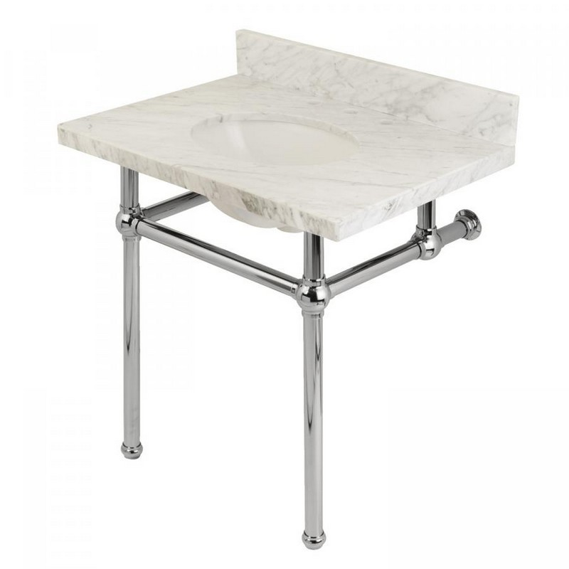 KINGSTON BRASS KVPB3030MB FAUCETURE TEMPLETON 30 INCH CARRARA MARBLE BATHROOM CONSOLE VANITY WITH BRASS PEDESTAL