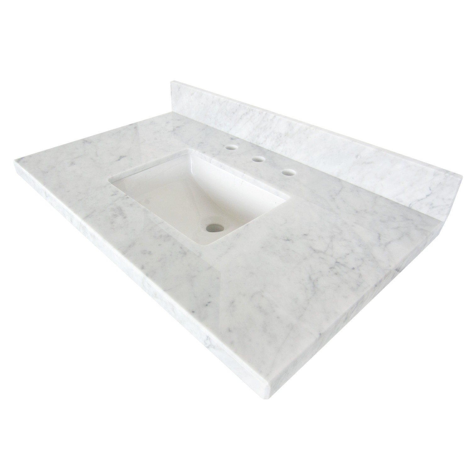 KINGSTON BRASS KVPB3622M38SQ TEMPLETON CARRARA MARBLE VANITY TOP WITH SQUARE UNDERMOUNT SINK IN WHITE