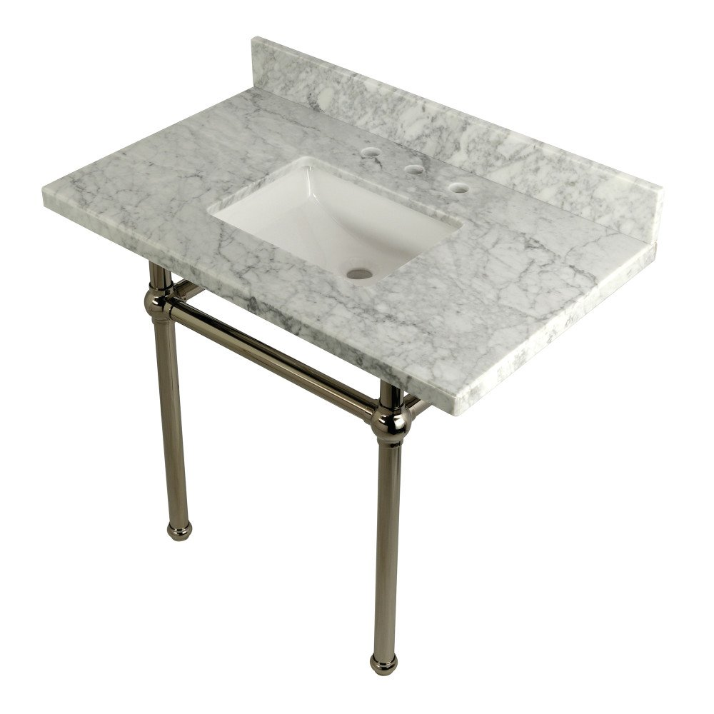 KINGSTON BRASS KVPB3630MBSQ TEMPLETON 36 X 22 INCH CARRARA MARBLE VANITY WITH SINK AND BRASS FEET COMBO