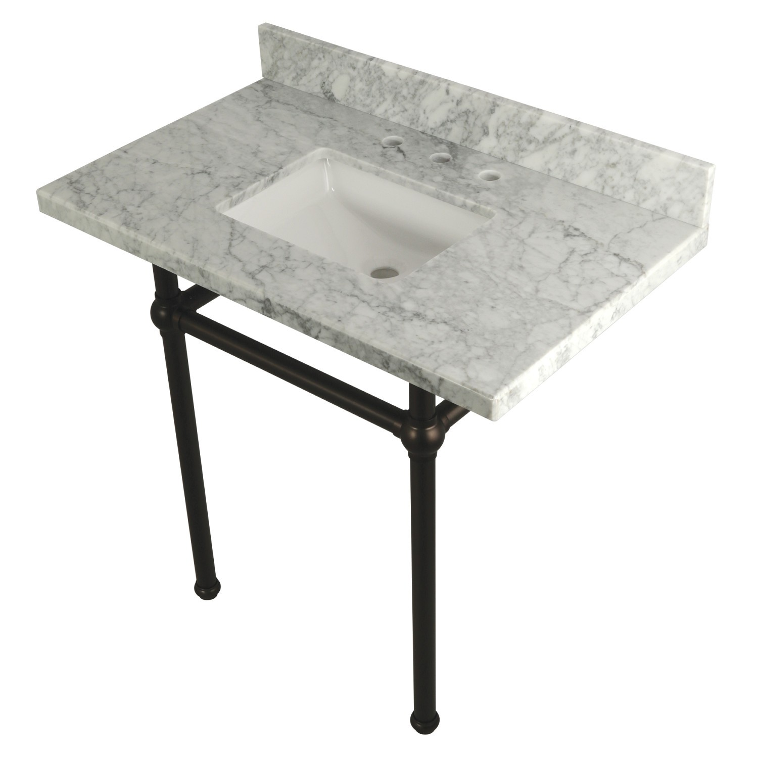 KINGSTON BRASS KVPB36MBSQ TEMPLETON 36 X 22 INCH CARRARA MARBLE VANITY WITH SINK AND BRASS FEET COMBO