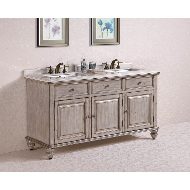 Legion Furniture Wh3167 Vanity 67 Inch Solid Wood Sink Vanity With Marble No Faucet And Backsplash