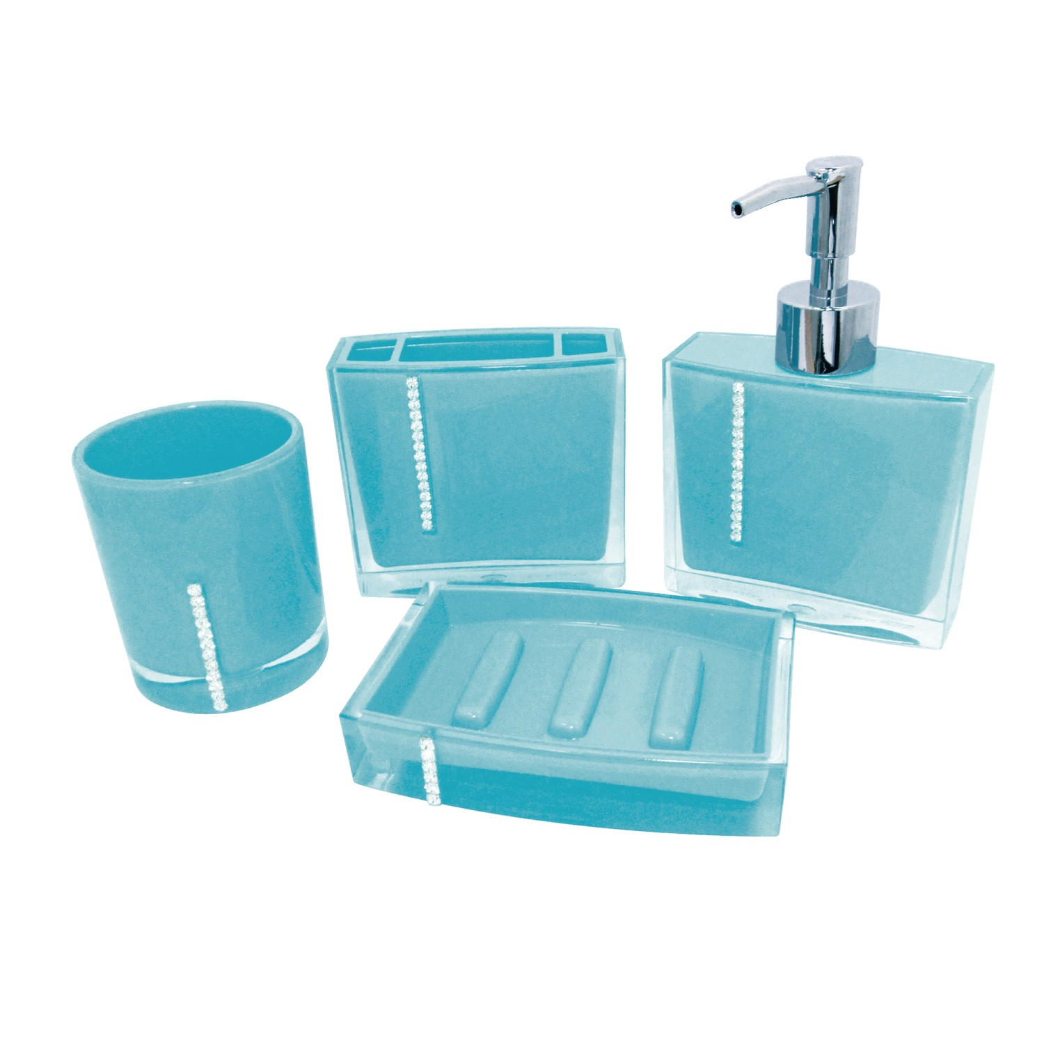 KINGSTON BRASS CBAK3141B KRYSTAL BATHWARE 4-PIECE BATH ACCESSORY SET IN TURQUOISE BLUE