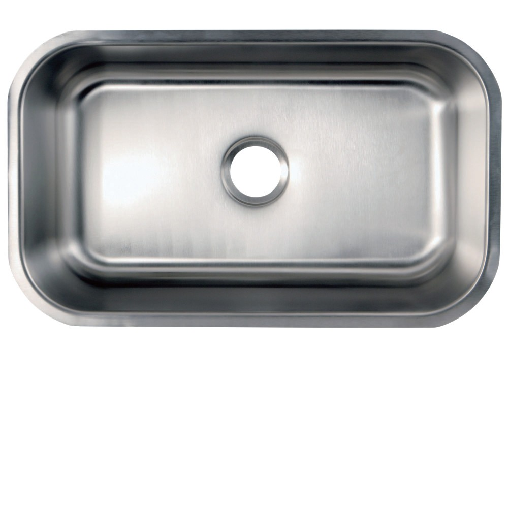 KINGSTON BRASS KGKUS3018 30 INCH UNDERMOUNT STAINLESS STEEL SINGLE BOWL KITCHEN SINK COMBO WITH STRAINER IN BRUSHED