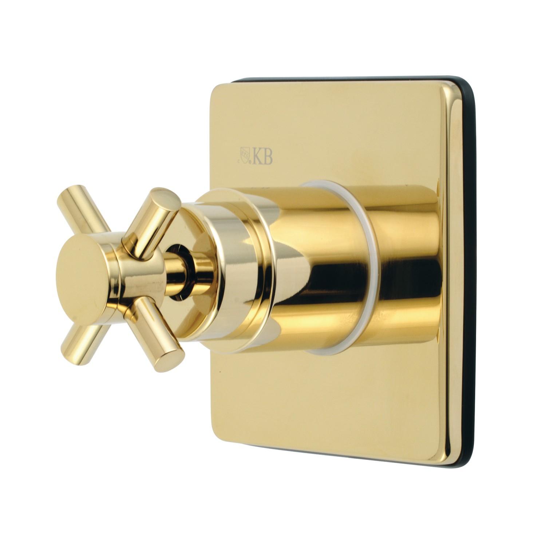 Kingston Brass Ks3042dx Concord Single Handle Three Way Diverter Valve With Trim Kit In Polished Brass