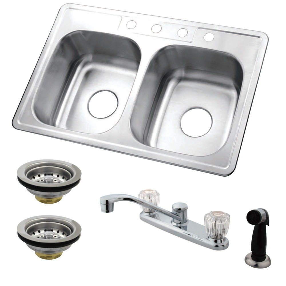 Kingston Brass Kz33226k112 33 Inch Self Rimming Stainless Steel Double Bowl Kitchen Sink Combo With Faucet And